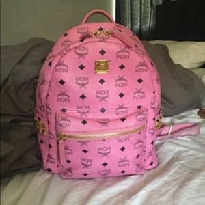 Pink mcm small backpack